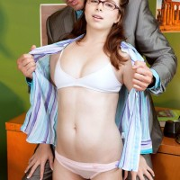 Hardly legal year old coed with crimson hair Jennifer Matthews gets undressed by her tutor
