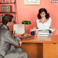 Humungous boobed businesslady Beverly Paige tempts a guy in her office after a panty display