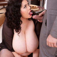 Massive boobed brown-haired fatty Mara Miani does away with see-thru lingerie before screwing in hosiery