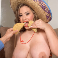 Gigantic titted Latina girl Selena Castro has sex with a stud while consuming food
