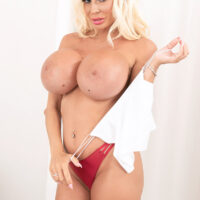 Sweet sandy-haired chick Barbie Nicole sets her enlargened breasts free during a solo shoot