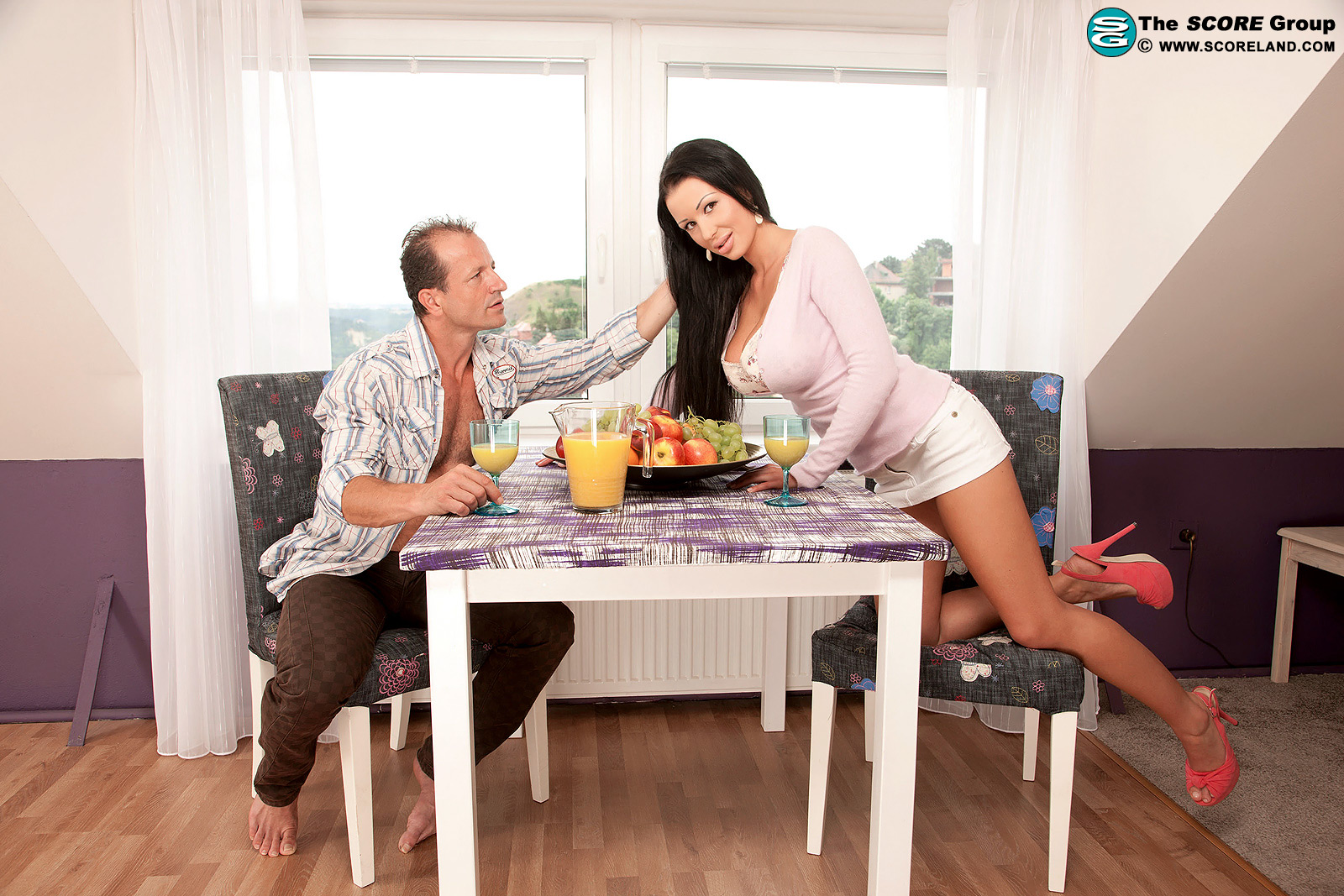 Long-haired MILF Patty Michova has her immense boobs caressed and fellated during breakfast