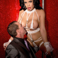 Chesty Latina stripper Savana Ginger teases a gentleman during a private show