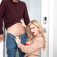Provocative light-haired female Casca Akashova tempts her next-door neighbour in a sexy bra and panty set
