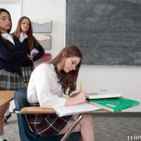 Teen dykes Alice Drea and Jennaforce a schoolgirl into all female three way in classroom