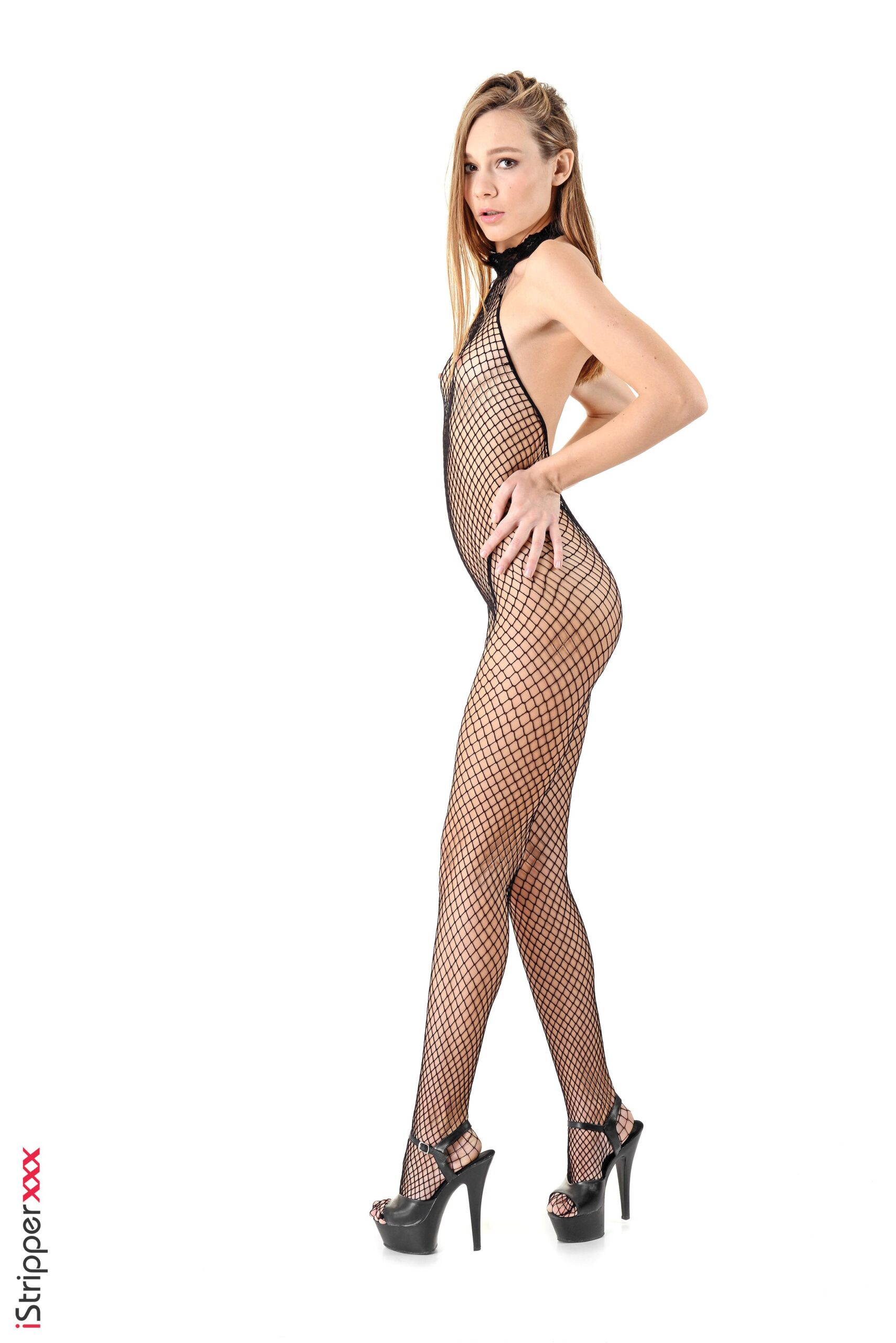 Sexy girl Mira fellates on a toy working her nude body free of a mesh bodystocking