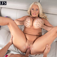 Chesty senior lady Maddie Cross has oral and vaginal sex with a large cock in POV mode