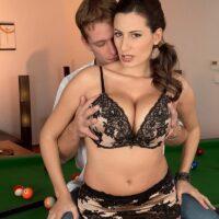 Sweet MILF Sensual Jane tit plows a boy after shooting pool in black pantyhose