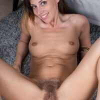 Thin dark haired first timer Chloe R spreading her furry cootchie after hose removal