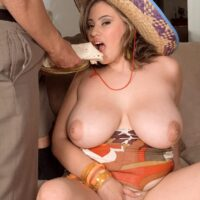 Hefty jugged Latina chubber Selena Castro licking food while touting funbags