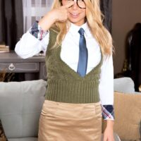 Glasses outfitted schoolgirl Alina West unsheathing tiny teenager tits before gonzo sex takes place