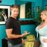 Yellow-haired secretary Summer Sinn flashes her giant titties at the office place in a lengthy microskirt