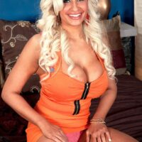Golden-haired MILF Holly Brooks entices a dude with her large breasts in a miniskirt