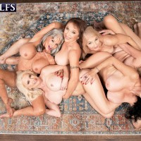Sixty plus MILF Mia Magnusson gathers her gfs for an all female orgy