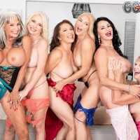 60 plus MILF Mia Magnusson gathers her gfs for an all female fuck-fest