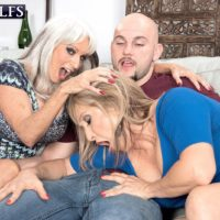 Sixty plus COUGARS Sally D'Angelo and Luna Azul give a dual hj and BJ