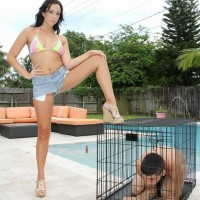 Adriana Lily lets collared sub loose from cell outdoors by pool for pegging