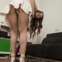 First timer solo chick Miranda preps to park her fur covered thicket on top of a dildo at home