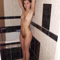 First-timer babe flashes off her plasticity and then her all-natural gash in the nude