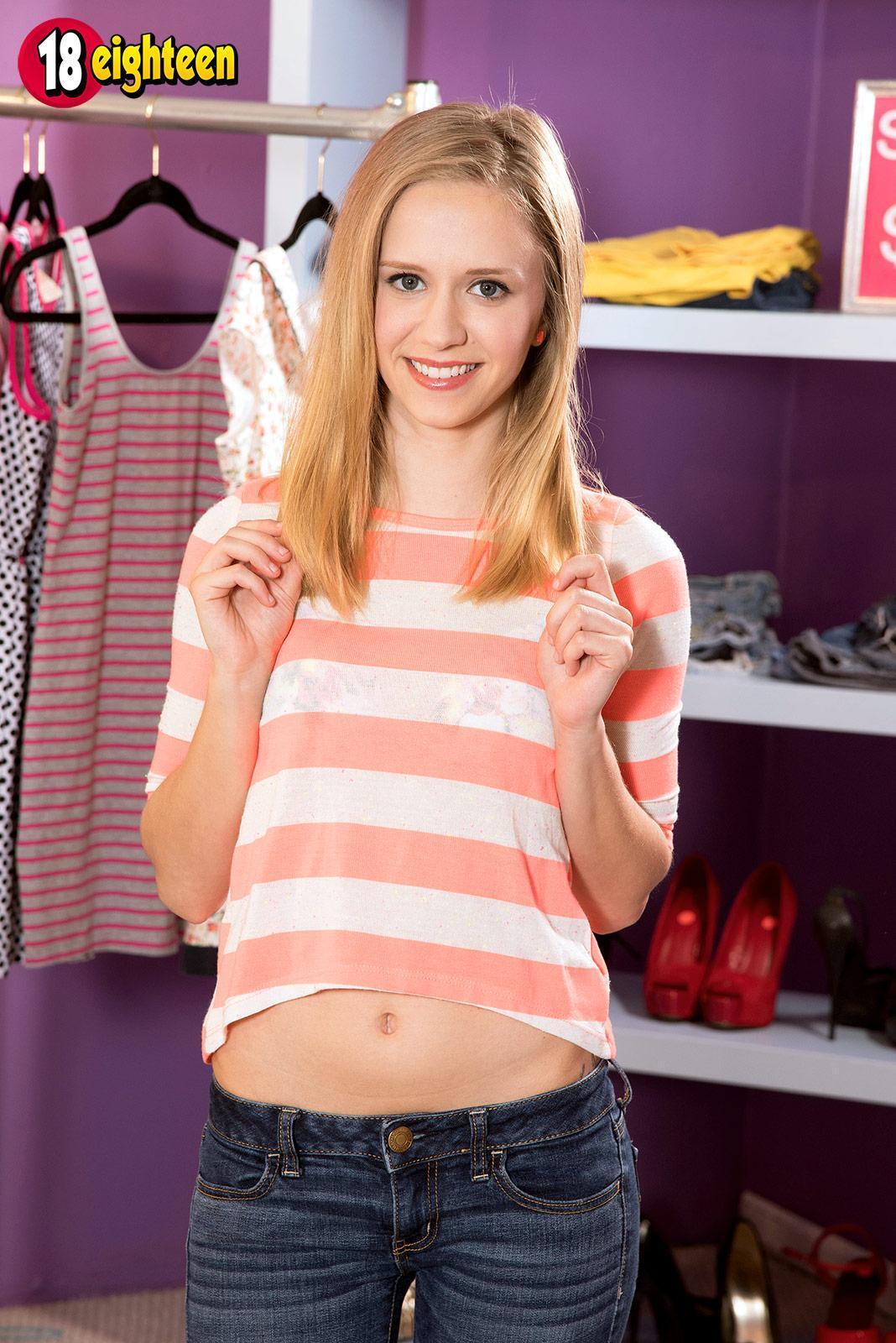 Amateur teen Rachel James baring diminutive tits for nipple gobbling before hefty boner BLOW JOB