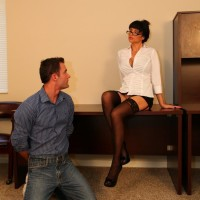 Angie Noir opens up stocking outfitted legs for beaver gobbling from sissy