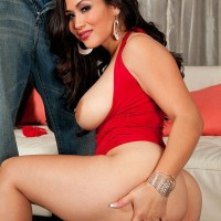Oriental MILF Jessica Bangkok has her big tush revealed by a black stud