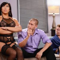 Chinese MILF Mia Li does a dual intrusion after posing in black lingerie and hose