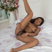 Barefoot ebony first-timer Alishaa Mae loosing big funbags and hairy slit from lingerie