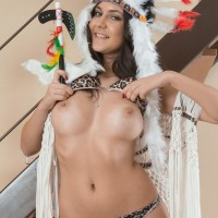 Barefooted European first-timer Pavla spreading hairy cunt wide open in costume play garment