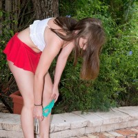 18 amateur Charli Maverick unsheathing tiny teenage titties and butt-cheeks outdoors