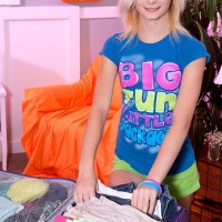 Legal light-haired teenage Maddy Rose whipping out little fun bags from boulder-holder in bedroom