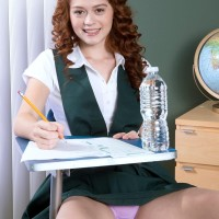 Eighteen red-haired Alice Lime green strips naked during her schoolgirl explores