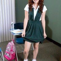 18 ginger-haired Alice Lime green strips naked during her schoolgirl investigates