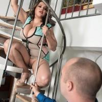 BIG BEAUTIFUL WOMAN Cat Bangles flashing no panty upskirt on stairs before unsheathing large boobies