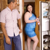 BIG SEXY LADY XXX movie star Monique L'Amour titty banging and munching boner in kitchen before sex