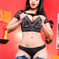 Fabulous black-haired Latina Mary Jean letting out yummy tush from black underwear and denim jeans