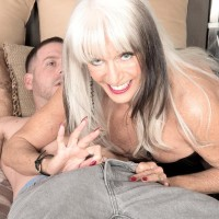 Big breasted 60 plus MILF Sally D'Angelo drains a boner in spandex boots and ebony corset