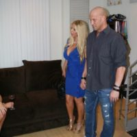 Humungous titted golden-haired Kayla Kleevage and MILF XXX flick star Karen Fisher squad upin a 3 way