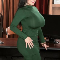 Gigantic titted black-haired MILF Sheridan Enjoy disrobed nude by coworker in office