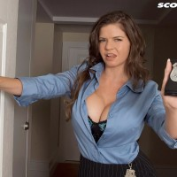 Humungous boobed dark-haired policewoman June Summers providing hj to gigantic junk