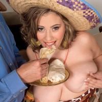 Humungous boobed Latina plumper Selena Castro tonguing food while showcasing melons