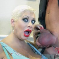Big-boobed senior platinum fair-haired Claudia Marie receives a jizz shot in mouth after a fuck