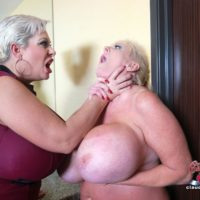 Big titted ash-blonde Claudia Marie engages in strap on lesbo sex during raunchy FFM sex