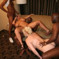 big titted sandy-haired Kayla Kleevage and a gf take part in an bi-racial four way
