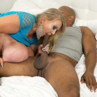Enormous titted golden-haired lady Kayla Kleevage swaps oral sex before multiracial fucking