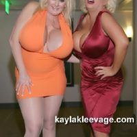 Immense titted blondes Kayla Kleevage and Claudia Marie give a double ORAL JOB during a Three-way