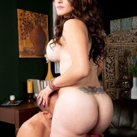 Hefty titted brown-haired Carmen Ross exposes her massive elastic bum before getting on top