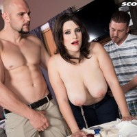 Huge breasted female May West has her erect nipples blown and large rump unveiled by two guys