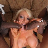Monster-sized boobed mature blonde Kayla Kleevage gets buns screwed during sex with immense ebony cocks