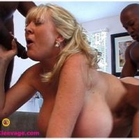 Enormous jugged senior platinum-blonde Kayla Kleevage takes on massive ebony rods during hard-core action